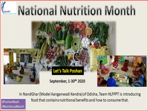 Observing National Nutrition Month from September 1 to 30th 2020 in NandGhar, Odisha